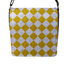 Square2 White Marble & Yellow Denim Flap Messenger Bag (l)  by trendistuff