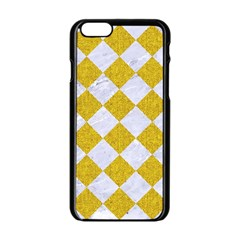 Square2 White Marble & Yellow Denim Apple Iphone 6/6s Black Enamel Case by trendistuff