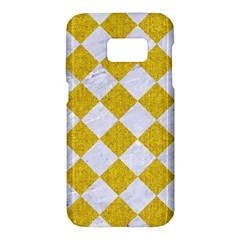 Square2 White Marble & Yellow Denim Samsung Galaxy S7 Hardshell Case  by trendistuff