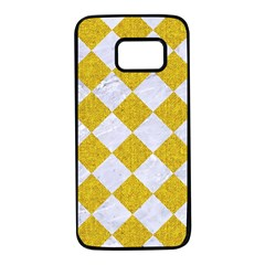 Square2 White Marble & Yellow Denim Samsung Galaxy S7 Black Seamless Case by trendistuff