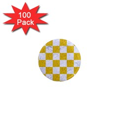 Square1 White Marble & Yellow Denim 1  Mini Magnets (100 Pack)  by trendistuff