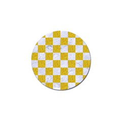 Square1 White Marble & Yellow Denim Golf Ball Marker (10 Pack) by trendistuff