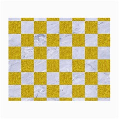 Square1 White Marble & Yellow Denim Small Glasses Cloth by trendistuff