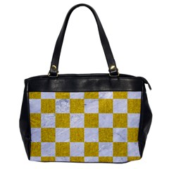 Square1 White Marble & Yellow Denim Office Handbags by trendistuff