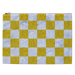 Square1 White Marble & Yellow Denim Cosmetic Bag (xxl)  by trendistuff