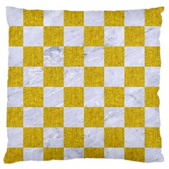 Square1 White Marble & Yellow Denim Standard Flano Cushion Case (one Side) by trendistuff