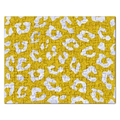 Skin5 White Marble & Yellow Denim (r) Rectangular Jigsaw Puzzl by trendistuff