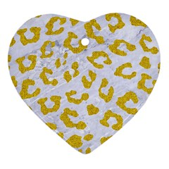 Skin5 White Marble & Yellow Denim Heart Ornament (two Sides) by trendistuff
