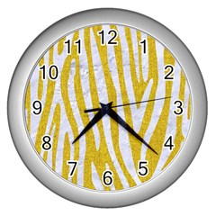 Skin4 White Marble & Yellow Denim (r)skin4 White Marble & Yellow Denim (r) Wall Clocks (silver)