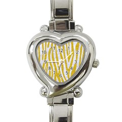 Skin4 White Marble & Yellow Denim (r)skin4 White Marble & Yellow Denim (r) Heart Italian Charm Watch by trendistuff
