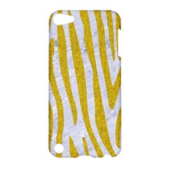 Skin4 White Marble & Yellow Denim Apple Ipod Touch 5 Hardshell Case by trendistuff