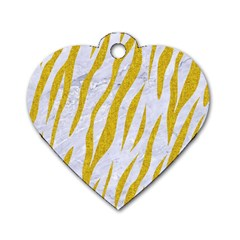 Skin3 White Marble & Yellow Denim (r) Dog Tag Heart (one Side) by trendistuff