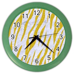 Skin3 White Marble & Yellow Denim (r) Color Wall Clocks by trendistuff