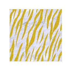 Skin3 White Marble & Yellow Denim (r) Small Satin Scarf (square) by trendistuff