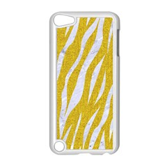 Skin3 White Marble & Yellow Denim Apple Ipod Touch 5 Case (white) by trendistuff
