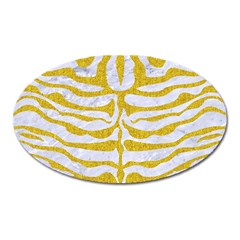 Skin2 White Marble & Yellow Denim (r) Oval Magnet by trendistuff