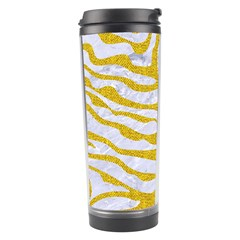 Skin2 White Marble & Yellow Denim (r) Travel Tumbler by trendistuff