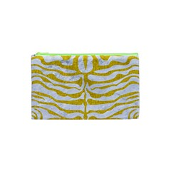 Skin2 White Marble & Yellow Denim (r) Cosmetic Bag (xs) by trendistuff