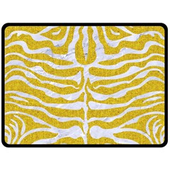Skin2 White Marble & Yellow Denim Double Sided Fleece Blanket (large)  by trendistuff