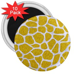 Skin1 White Marble & Yellow Denim (r) 3  Magnets (10 Pack)  by trendistuff