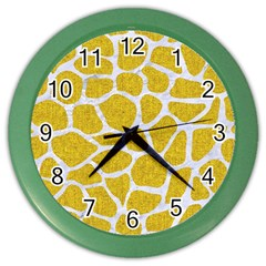 Skin1 White Marble & Yellow Denim (r) Color Wall Clocks by trendistuff