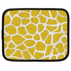 Skin1 White Marble & Yellow Denim (r) Netbook Case (large) by trendistuff