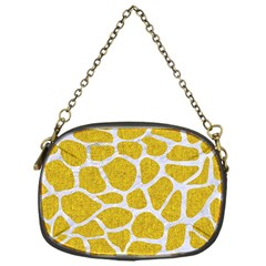 Skin1 White Marble & Yellow Denim (r) Chain Purses (one Side)  by trendistuff