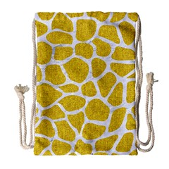 Skin1 White Marble & Yellow Denim (r) Drawstring Bag (large) by trendistuff