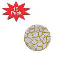 Skin1 White Marble & Yellow Denim 1  Mini Buttons (10 Pack)  by trendistuff