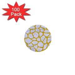 Skin1 White Marble & Yellow Denim 1  Mini Buttons (100 Pack)  by trendistuff