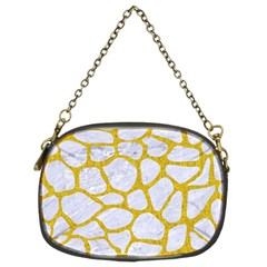 Skin1 White Marble & Yellow Denim Chain Purses (two Sides)  by trendistuff