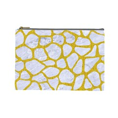Skin1 White Marble & Yellow Denim Cosmetic Bag (large)  by trendistuff