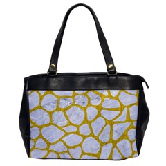 Skin1 White Marble & Yellow Denim Office Handbags by trendistuff