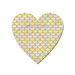 Scales3 White Marble & Yellow Denim (r) Heart Magnet by trendistuff