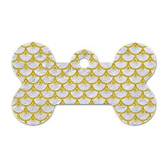 Scales3 White Marble & Yellow Denim (r) Dog Tag Bone (two Sides) by trendistuff