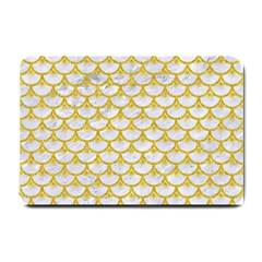 Scales3 White Marble & Yellow Denim (r) Small Doormat  by trendistuff
