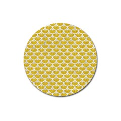 Scales3 White Marble & Yellow Denim Magnet 3  (round) by trendistuff