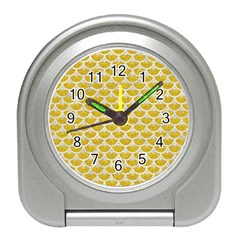 Scales3 White Marble & Yellow Denim Travel Alarm Clocks by trendistuff