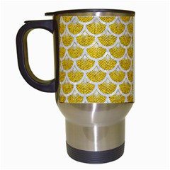 Scales3 White Marble & Yellow Denim Travel Mugs (white) by trendistuff