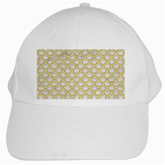 Scales2 White Marble & Yellow Denim (r) White Cap by trendistuff