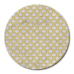 Scales2 White Marble & Yellow Denim (r) Round Mousepads by trendistuff