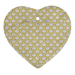 Scales2 White Marble & Yellow Denim (r) Ornament (heart) by trendistuff