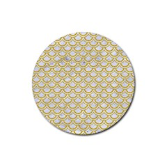 Scales2 White Marble & Yellow Denim (r) Rubber Round Coaster (4 Pack)  by trendistuff