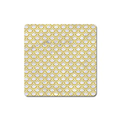 Scales2 White Marble & Yellow Denim (r) Square Magnet by trendistuff