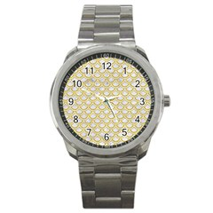 Scales2 White Marble & Yellow Denim (r) Sport Metal Watch by trendistuff
