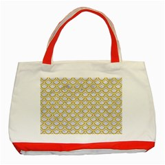 Scales2 White Marble & Yellow Denim (r) Classic Tote Bag (red) by trendistuff