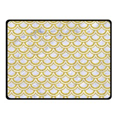 Scales2 White Marble & Yellow Denim (r) Fleece Blanket (small) by trendistuff