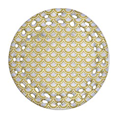 Scales2 White Marble & Yellow Denim (r) Ornament (round Filigree) by trendistuff