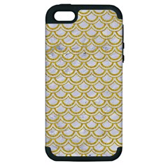 Scales2 White Marble & Yellow Denim (r) Apple Iphone 5 Hardshell Case (pc+silicone) by trendistuff
