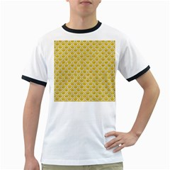 Scales2 White Marble & Yellow Denim Ringer T Shirts by trendistuff